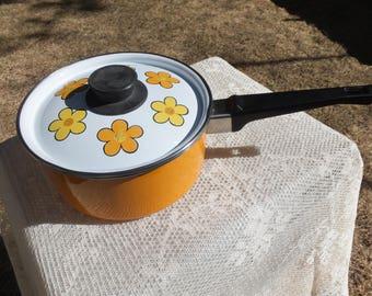 Orange Enamel Pot, Orange and Yellow Enamel Flowered Pot, Orange Flowered Pot