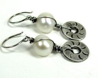 Pearl, Hill Tribe , Sterling Silver Earrings