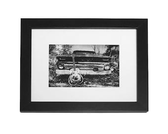 Steel Guitar Framed - 5x7 Black & White Photographic Print, Rustic Home Decor, Gritty Wall Art, Abanonded Old Truck