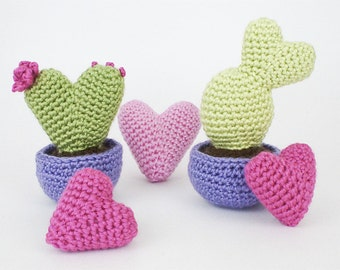 PDF Heart Cactus Collection amigurumi potted plant CROCHET PATTERN