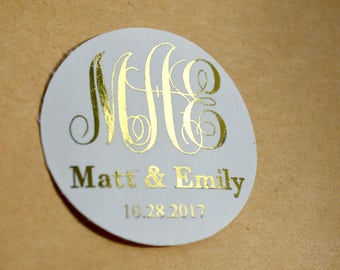 Personalized Wedding Stickers Custom Wedding Stickers Product Labels Simple Thank You Wedding Favors Stickers Gift Packaging Foil Stickers