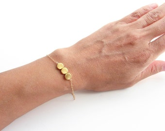Gold Dots Bracelet. Three Small Gold Plated Beads. Friendship Bracelet. Bridesmaid Gift. Simple Modern Jewelry by PetitBlue  ~ Gift for Mom