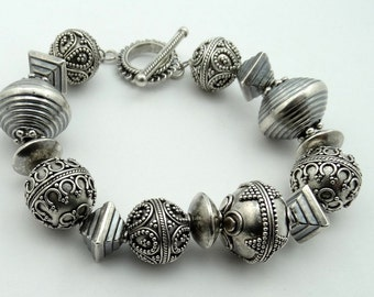 Fantastic Hill Tribe Sterling Silver Bead Toggle Bracelet  #HVYHLL-LB2