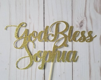 Personalized Cake Topper >>GOD BLESS<< Baptism | Christening | Confirmation | Communion | Party Supplies | Decor