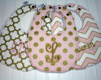Boutique Glitz Girl Baby Bib - Personalized Baby Girl Bib - Gold and Pink Bib, Girl Toddler Bib - Triple Layer Chenille - Monogram Baby