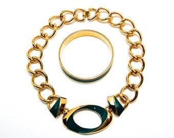Monet Modernist Large Gold Link Necklace with Teal Green Enamel Accents Matching Bangle Bracelet
