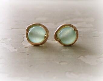 Sea Green Studs, Green Earrings, Stud Earrings Stone, Gold Stud Earrings, Light Green Studs, Gemstone Studs, Green Stud Earrings, Gold Posts