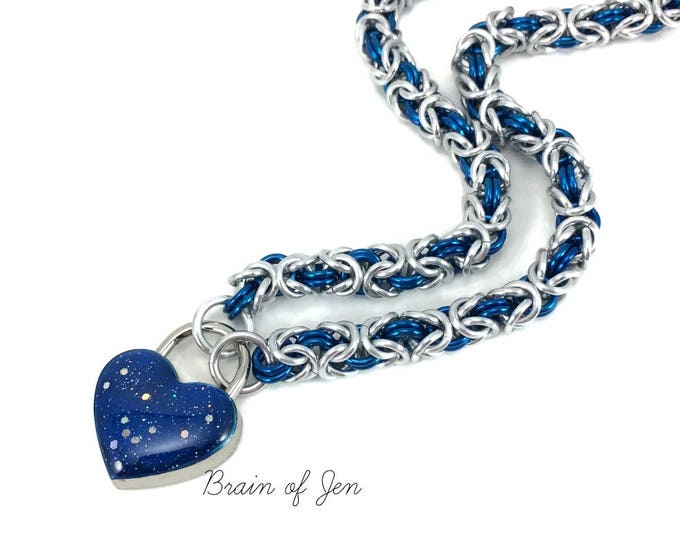 Locking Slave Collar Silver & Blue with Small Blue Heart Shaped Padlock