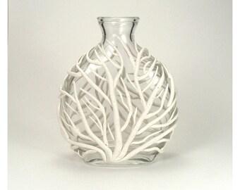 White Sea Fan Vase - Tidal / Gorgonian, Ocean Life, Underwater, Home Decor, Bud Vase, Clay