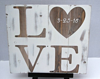 LOVE SIGN,wedding date sign,wedding gift,rustic love sign