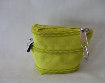 Keychain designed with a single piece of zipper