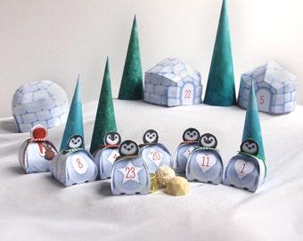 Advent calendar printable, Penguins Christmas Village, 24 cute Advent favor boxes for Christmas countdown,Penguins, Igloos & Xmas trees