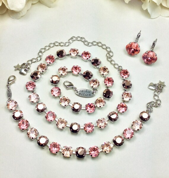"""Swarovski Crystal 8.5mm Necklace    """"Peach Kiss"""" - Rose Gold, & Pretty Peach Shades - Gorgeous - Designer Inspired - FREE SHIPPING"""