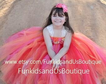 Autumn tutu dress-  Flower Girl dress for a wedding - Orange Flower Girl Tutu Dress
