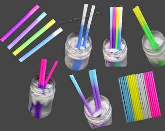 "NEW! 15pcs Awesome Color changing Party Straws, 9"" Heavyweight Reusable Recyclable Eco Friendly Drinking Straws, Plastic 9"" Drinking Straws"