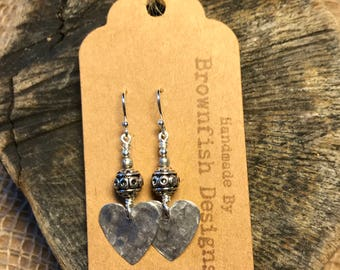 Up cycled Tin Heart Drop Earrings