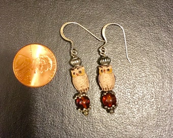 Owl Amber Gemstone Earrings Sterling Silver