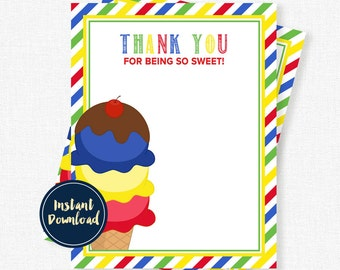 Ice Cream Thank You Cards, Ice Cream Party, Birthday Thank You Cards, Ice Cream Primary Note Printable INSTANT DOWNLOAD