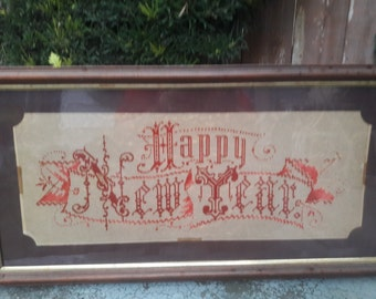 Rare Antique 1800s Happy New Year Victorian Punched Paper Motto Sampler Or Berlin Work Hanging Picture