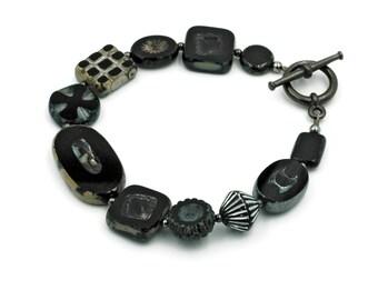 Jet Black Czech Glass Bead Bracelet