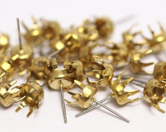 Stainless Steel Earring, 50 Raw Brass Earring Posts / Stainless Steel 9x19mm / 6 Mm Pad A0494