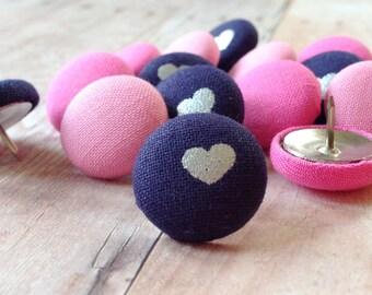 15 Pink Thumbtacks,Pink and Navy,Push Pins, Pushpins,Thumb Tacks,Thumbtacks,Organization,Teacher Gift,Coworker Gift,Bulletin Board,Gift