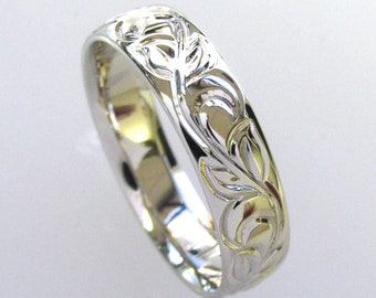 14k White Gold 6mm Hand Engraved Vine and Leaf Wedding/Anniversary Band
