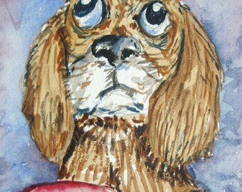 Original ACEO watercolor painting - Puppy - Miniature Painting, Small Painting, Art and Collectables-ACEO Watercolor 2.5 x 3.5 inches