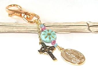 Schlüsselanhänger oder Taschenanhänger, Schutzengel & Cherub Medaille, Keltisches Kreuz