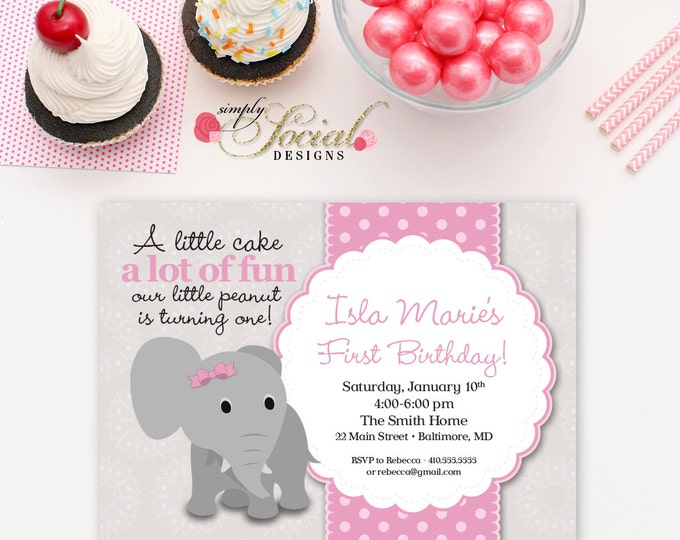Elephant First Birthday Invitation Pink and Grey Little Peanut Printable