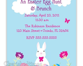 Eggs & Bunny Easter Birthday, Party or Baby Shower Invitation (You Print)