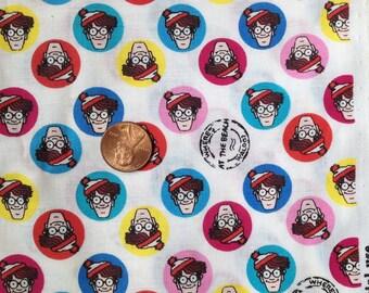 Fat QUARTER WALDO, Where's Waldo Fabric /Beach~ 100% Cotton for Crafts & Quilting
