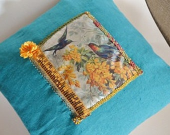 Retro bohemian cushion in linen and cotton blue turquoise and beige