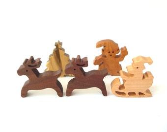 Wooden Christmas Figurines, Wood Santa, Reindeer, Elf, Tree, 5 Piece Holiday Decoration, Christmas Knick Knack