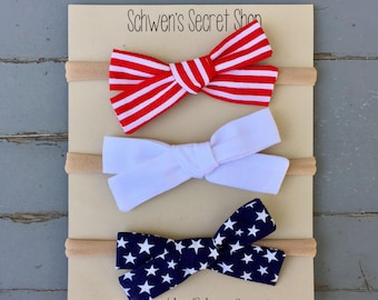 Patriotic bows, hand tied bow, baby girl headband, baby headband, baby girl bow, nylon headband, school girl bow, baby hair bow, baby bows