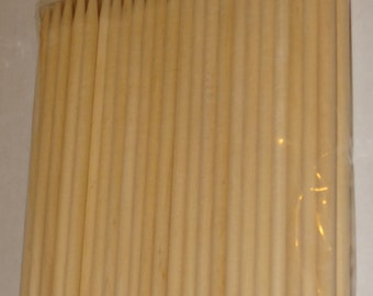 """FREE SHIP-USA 50 or 100 Apple Sticks Wood Skewers Corn Dog Sticks SemiPointed Assorted Quantity 6""""x 1/4"""