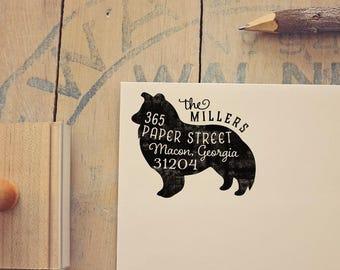 Shetland Sheepdog Return Address Stamp, Housewarming & Dog Lover Gift, Personalized Rubber Stamp, Wood Handle, Sheltie Stamp