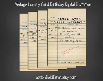 Vintage Library Card Birthday Book Party Invitation Personalized Digital Download C-583 Build a Library for the Birthday Girl or Boy