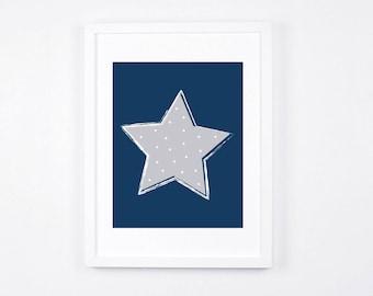 Navy Blue Star Nursery Art Printable Star Art, Modern Nursery, Navy and Grey Nursery Digital Print, Scandinavian Baby Room Decor, Boys Room