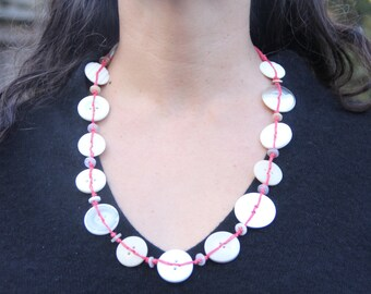 Handwoven // Long Necklace // white buttons // red hemp twine // long chunky necklace // eco gifts