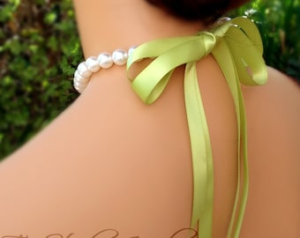 Back or Side Ribbon Closure Pearl Bridemaids Bow Necklace - Silk or Satin Ribbon in any color