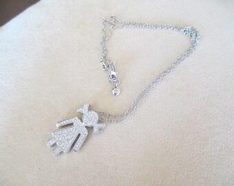 Necklace Pendant Baby Large cm 3 brilliant diamonds ct 1.10 G/VVS-vs white gold 18 kt-40%