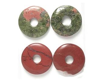 4 Donut Ring Round Semiprecious Gemstones, Gem Component Beads, 2 pink green Unakite Jewels and 2 Brick Red Jasper Semiprecious Rounds