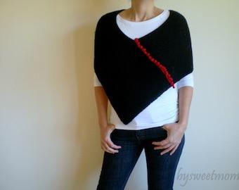 Black Poncho, Women Ponco, Knitted Shawl, Women Shawl, Cape Wrap, Halloween Fashion