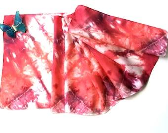 Coral Red Tie Dye Silk Scarf - Custom Order for Sylvette Arroyo