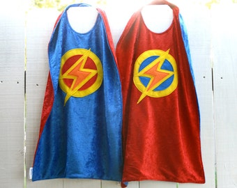 Twin Set of 2 Super Hero Capes RED and BLUE - Lightning Bolt - Birthday Cape - Super Hero Cape - Halloween Costume