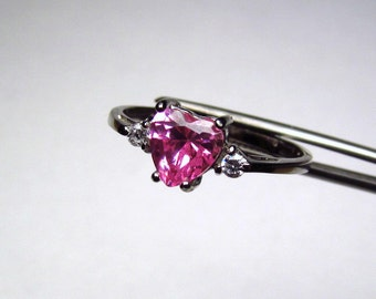 CLEARANCE  Glowing Pink CZ Heart in an Accented Sterling Silver Ring