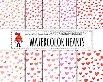 50% OFF Watercolor hearts digital paper with hand painted watercolor hearts pattern, valentine digital paper,  (1280)