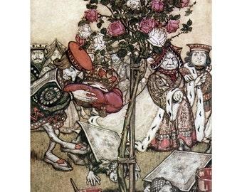 Alice in Wonderland Fabric Block - Gardeners Paint Roses - Arthur Rackham