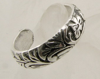 Sterling Silver Pattern Toe Ring or Band Ring (Oxidized), Sterling Toe Ring, Toe Ring, Silver Toe Ring, Handmade